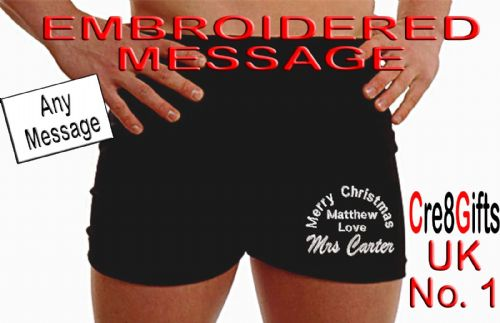 Personalised Christmas boxer shorts -mixed text - Xmas  Gift embroidered message - ON THE LEG